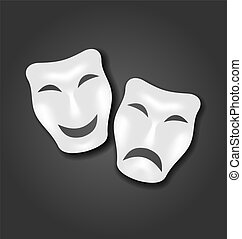 Comedy and tragedy masks for Carnival or theatre -...