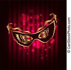 Carnival or theater mask on glowing background