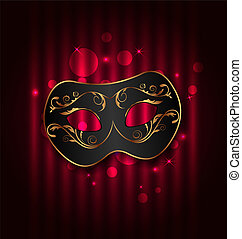 Black carnival ornate mask on glowing background -...