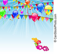 Carnival background with flags, confetti, balloons, mask