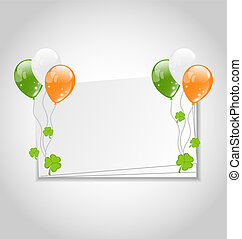 Illustration celebration card with balloons in Irish flag...