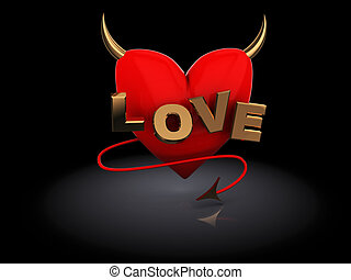 love symbol - 3d illustration of love symbol over dark...