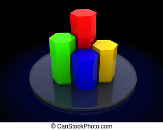 3d charts - 3d illustration of charts over dark background