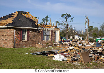 Tornadoe path - Tornado leaves trail of death, destruction...
