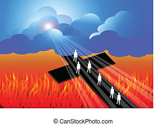 Road to salvation - Illustration of road to heaven
