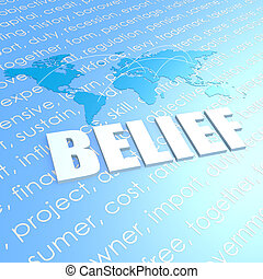 Belief world map image with hi-res rendered artwork that...
