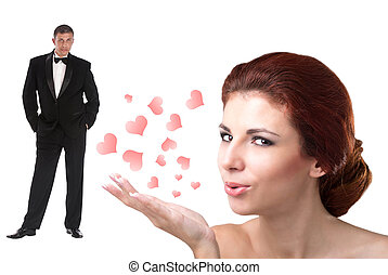 Valentines Day - Beauty Young Woman and Elegant Man in...