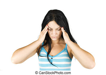 Bad headache - Woman with a bad headache on white background