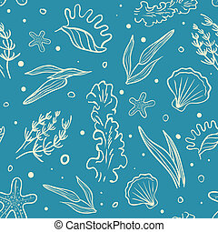 Vector Seamless Sea Pattern with Stylized Algae and Seashell...