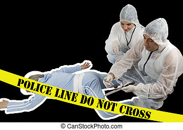 Crime scene:Two criminologists in white protective outfit...