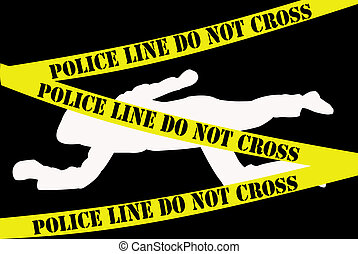 Crime scene - White dead body silhouette on black background...