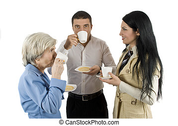 Business people at coffee break - Three business people have...