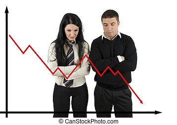 Financial crisis - Two disappointed business people looking...