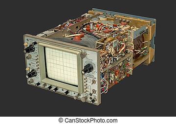 Old oscilloscope - Old oscilloscope in parts, isolated on a...