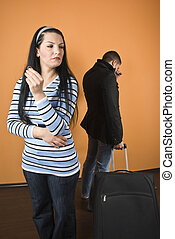 Divorce - Couple divorce,woman standing with wedding ring in...