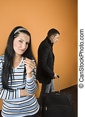 Divorce - Couple divorce,woman crying and stand with arms...