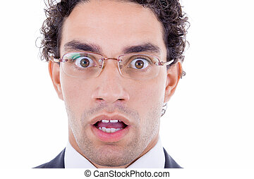 surprised businessman - wide eyes open surprised businessman...