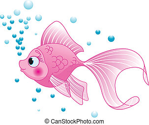 Cute Fish - Illustration of cute pink fish