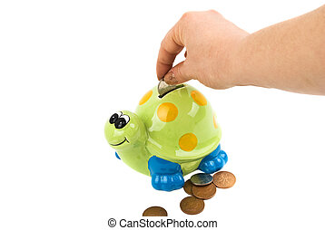 Save money - Woman hand save the money in her money box...
