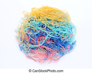 tangled yarn - close up of tangled yarn on white background