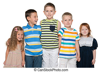 Gruppe, fünf, Freudig, Kinder