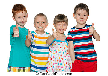 Four cheerful children hold his thumbs up