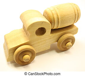 Wooden Toy Cement Truck - Wooden toy truck, cement mixer on...