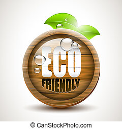 Eco friendly - ECO friendly - glossy wooden icon