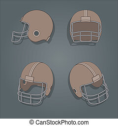 Vector American football helmets retro color style,