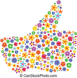 Thumbs Up Made Of Flowers Abstract Vector Illustration