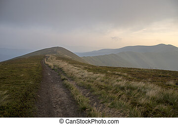 The road along the ridge at sunset