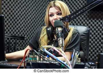 Live In Studio - Woman Working As Radio DJ Live In Studio