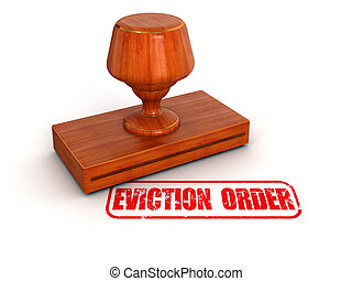 Rubber Stamp eviction order Image with clipping path