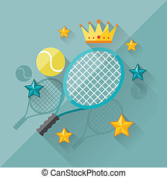 Illustration concept of tennis in flat design style.