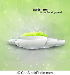 Abstract vector tableware - Abstract tableware, decorated...