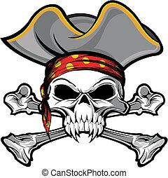 pirate skull - vector illustration skull and crossbones on...