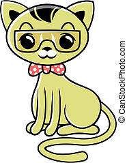 cartoon cat 05 - vector cartoon brown cat with glasses and...