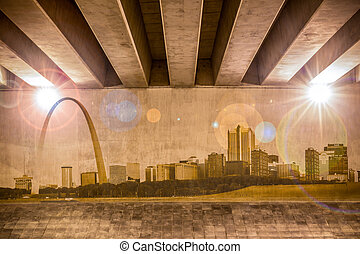 St. Louis skyline as wall drawing on the support column of...