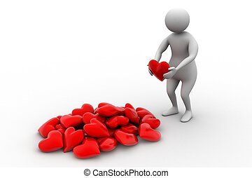 3d man holding heart in his hands