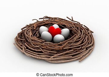 red heart and eggs in a bird nest