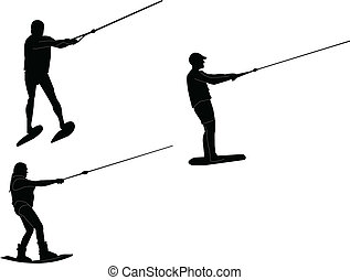 skiers on the water - vector - illustration of skiers on the...