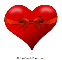 Heart for a Valentine's Day with red bow