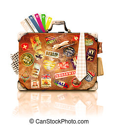 Suitcase and travel - Old vintage suitcase with a travel...