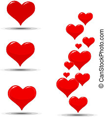 Hearts icons for a Valentines Day - Red Hearts icons for a...