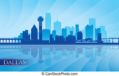 Dallas city skyline silhouette background, vector...