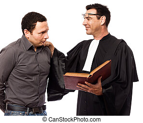 lawyer man and his client - one caucasian lawyer man and his...