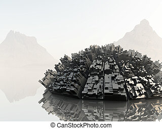 Fantasy landscape with ruined spaceship