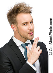 Businessman hand gun gesturing - Portrait of businessman...