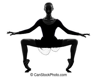 one caucasian young woman ballerina ballet dancer stretching warming up in silhouette studio on white background