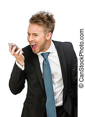 Businessman shouting at cell phone